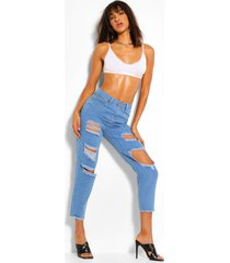 distressed mom jeans met hoge taille, lichtblauw