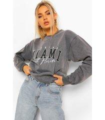 oversized gebleekte miami sweater met tekst, charcoal