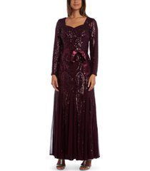 r & m richards petite embellished godet gown