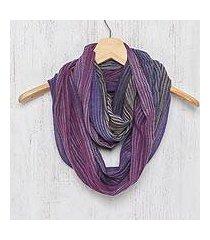 cotton infinity scarf, 'radiant horizon' (thailand)