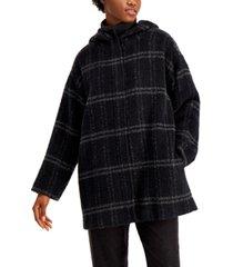 eileen fisher hooded plaid coat