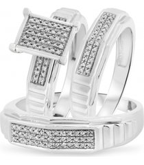 925 silver round lab-created diamond bridal & groom ring set 14k white gold over