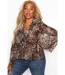 plus leopard ruffle chiffon top, brown