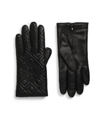 women's tory burch fleming quilted lambskin leather gloves, size 8 - black