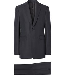 burberry classic fit puppytooth check wool mohair suit - blue