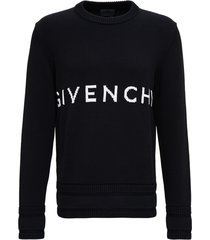 givenchy black cotton sweater with logo