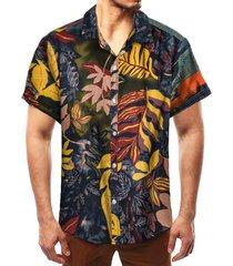 camisa de playa bohemia de vacaciones de verano con estampado tropical de algodón para hombres