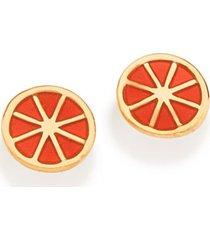 brinco bijoulux dourado no formato de laranja rommanel