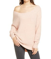 women's chelsea28 ribbed off the shoulder sweater, size large - pink