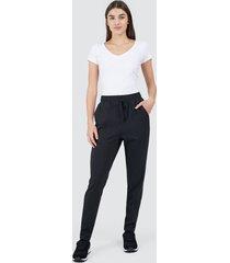 pantalón para mujer pretina encauchada color negro, talla 10