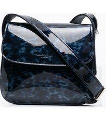 giorgio armani leather leopard-print shoulder bag - blue