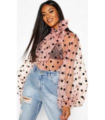 polka dot oversized organza blouse, blush
