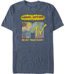 mtv men's distressed beavis and butthead head bangers logo short sleeve t-shirt