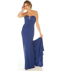 sophisticated sexy strapless beaded royal blue evening gown/prom dress joli 9560
