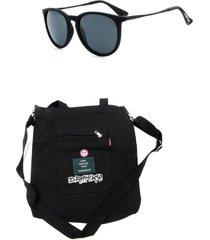 kit bolsa sacola dark face preta com óculos de sol preto - kitdkfpt1 - tricae