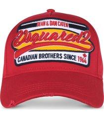 dsquared2 gabardine cotton brothers patch baseball cap