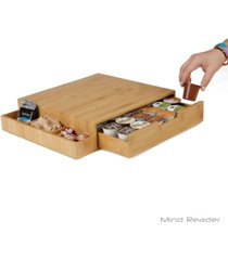 mind reader k-cup single serve coffee pod drawer with side condiment caddy organizer, 36 pod capacity