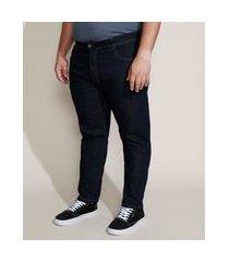 calça jeans masculina plus size slim com bolsos azul escuro