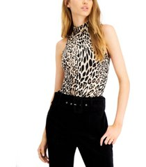 bar iii cheetah-print mock neck bodysuit, created for macy's