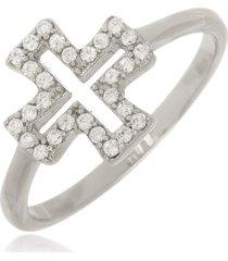 anel cruz cravejada cristal di capri semi jóias x ouro branco prata