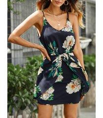 cintura elástica sin mangas con estampado floral al azar vestido en azul marino
