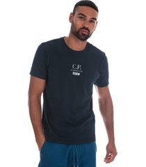 c.p. company mens jersey button print t-shirt size 2xl in blue