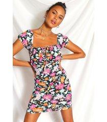 bloemenprint mini jurk met hartvormige hals, zwart