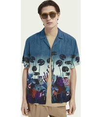 scotch & soda placement print hawaiian-detailed shirt