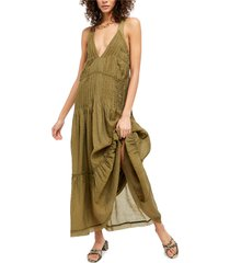 women's free people frankie pintuck sleeveless maxi dress, size x-large - green