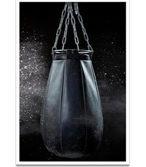 quadro oppen house 60x40cm boxe esporte treino saco de pancada moldura branca c/vidro