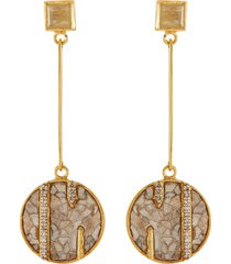 rumeli' champagne diamonds rutile quartz 18k gold vermeil resin drop earrings