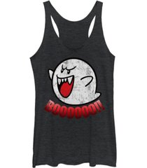 fifth sun nintendo women's super mario boos jump scare tri-blend tank top
