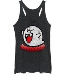 fifth sun nintendo women's super mario boos jump scare tri-blend tank top