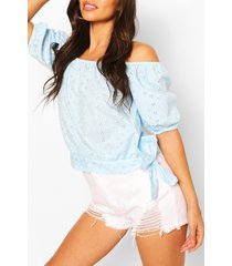 broderie anglaise tie detail blouse, blue