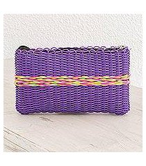 recycled plastic clutch, 'harmony of color in purple' (guatemala)