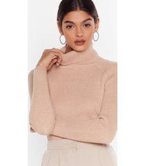 womens ribbed knit turtleneck sweater - taupe
