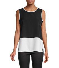 calvin klein women's colorblock tank - black soft white - size m