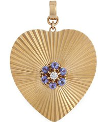 'heart' diamond 14k yellow gold bracelet charm - large