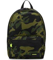 diesel mesh overlay camouflage print backpack - black