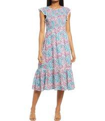 women's lost + wander blossom & bloom floral smocked dress, size x-large - blue