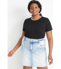 maurices plus size womens 24/7 black rib knit tuck in tee