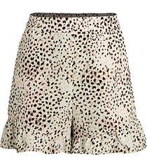 leopard-print ruffle-hem shorts