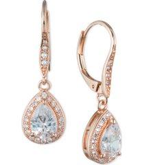anne klein teardrop crystal and pave drop earrings
