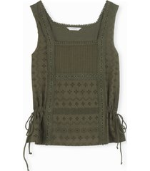 lucky brand mixed-media tie tank top