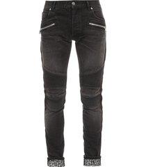 monogram ribbed slim jeans black