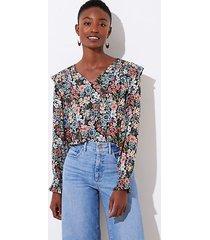 loft bouquet smocked v-neck blouse