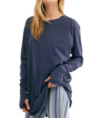 women's free people arden extra long cotton top, size x-small - blue