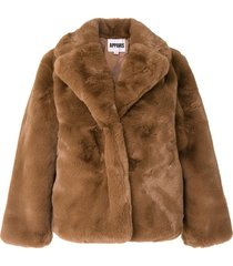 apparis manon short faux-fur coat - brown