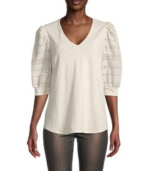 chenault women's eyelet-sleeve top - champagne - size m