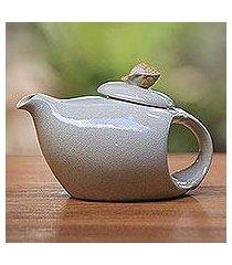 ceramic teapot, 'seashell' (indonesia)